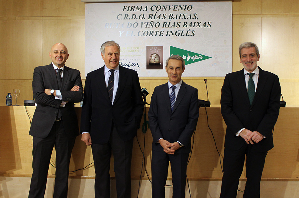 Ruta do Viño Rías Baixas and the Regulatory Council sign an agreement in collaboration with El Corte Inglés, to develop wine and gastronomical activities