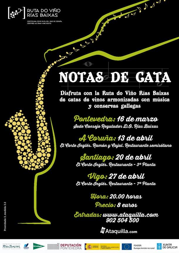 Las 'Notas de Cata' inauguran la programación anual de la Ruta do Viño Rías Baixas con degustación de vinos, conservas gallegas y música