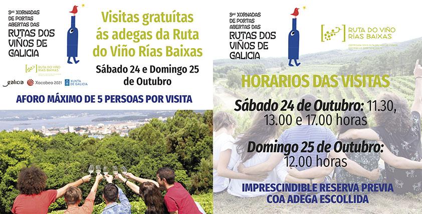 Las Jornadas de Puertas Abiertas de la Ruta do Viño Rías Baixas mantendrán las visitas guiadas gratuitas a las bodegas con aforos limitados