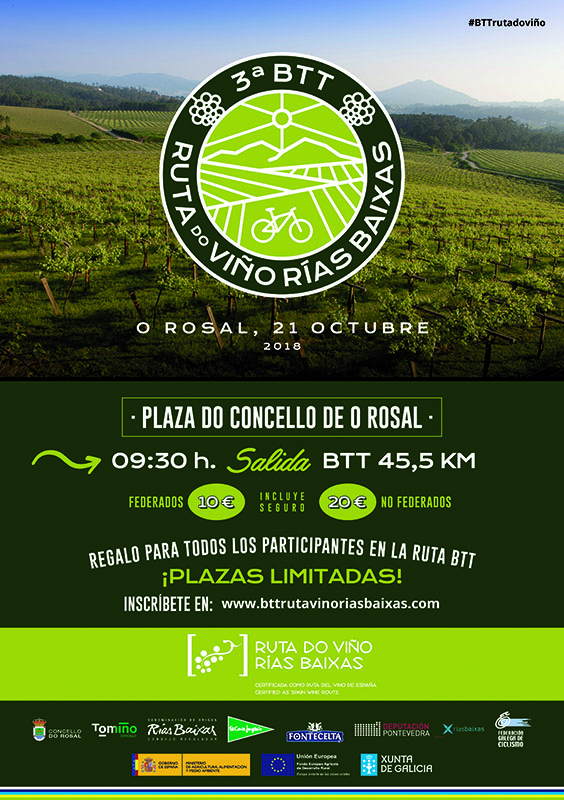 Últimos días para inscribirse en la III BTT Ruta do Viño Rías Baixas que se celebra este domingo 21 de octubre en O Rosal